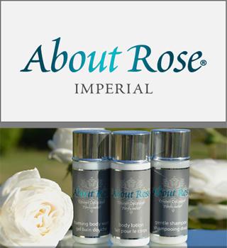 Produits d'accueil pour les hôtels de charme de luxe et les lignes de croisière - About Rose Impérial par HD Fragrances