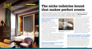 """About Rose Imperial   Hotel Management Magazine  Article in the The Boutique Hotel Report """"The niche toiletries brand that makes perfect scents""""   January 2014"""
