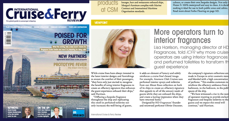 HD Fragrances featured in International Cruise and Ferry Review