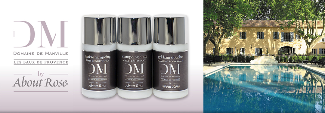 "Domaine de Manville introduces a bespoke collection of luxury guest toiletries in partnership with the niche cosmetic brand ""About Rose"" by HD Fragrances"