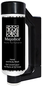 Press & Wash Dispensers by HD Fragrances | Cosmetic dispenser solutions for hotels- Majolica Noir- Hand and Body Wash