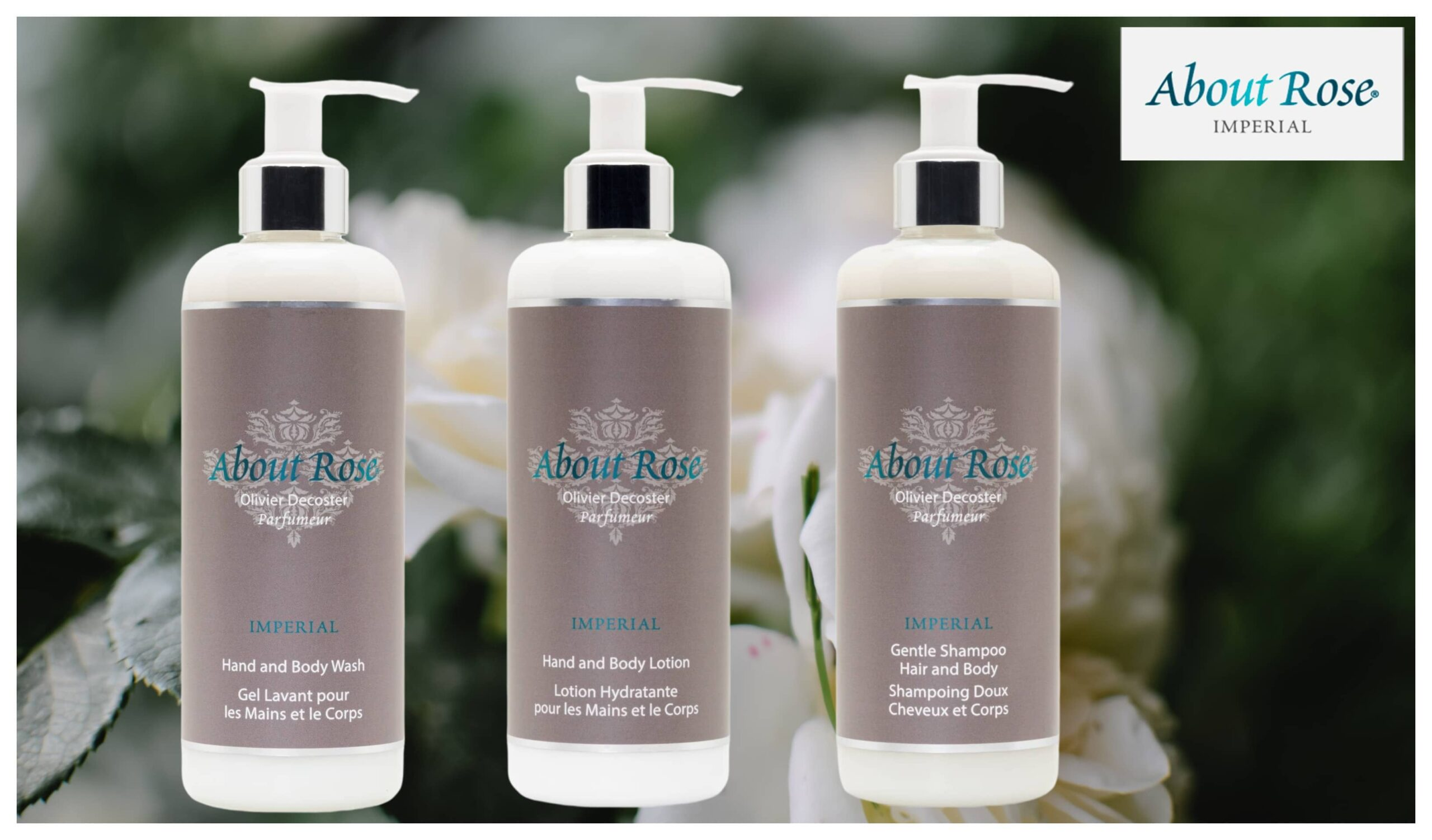 Luxury French hotel toiletries by HD Fragrances | The About Rose Impérial Collection