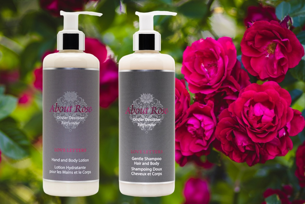 Luxury french hotel toiletries by HD Fragrances | The About Rose Love Letters Collection